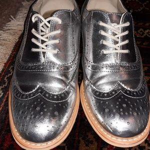 Silver oxfords, Women's size 10